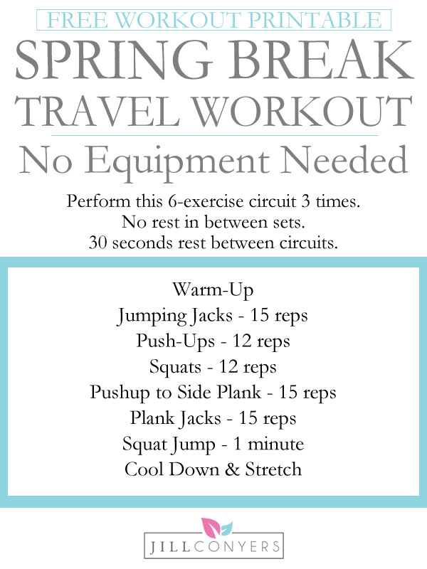 Stay fit and feel great while traveling. 30-minutes is all you need for this fat burning heart pumping no equipment workout. Print this workout and pack it in your suitcase with your workout clothes and shoes. FREE Workout Printable. Download at jillconyers.com.