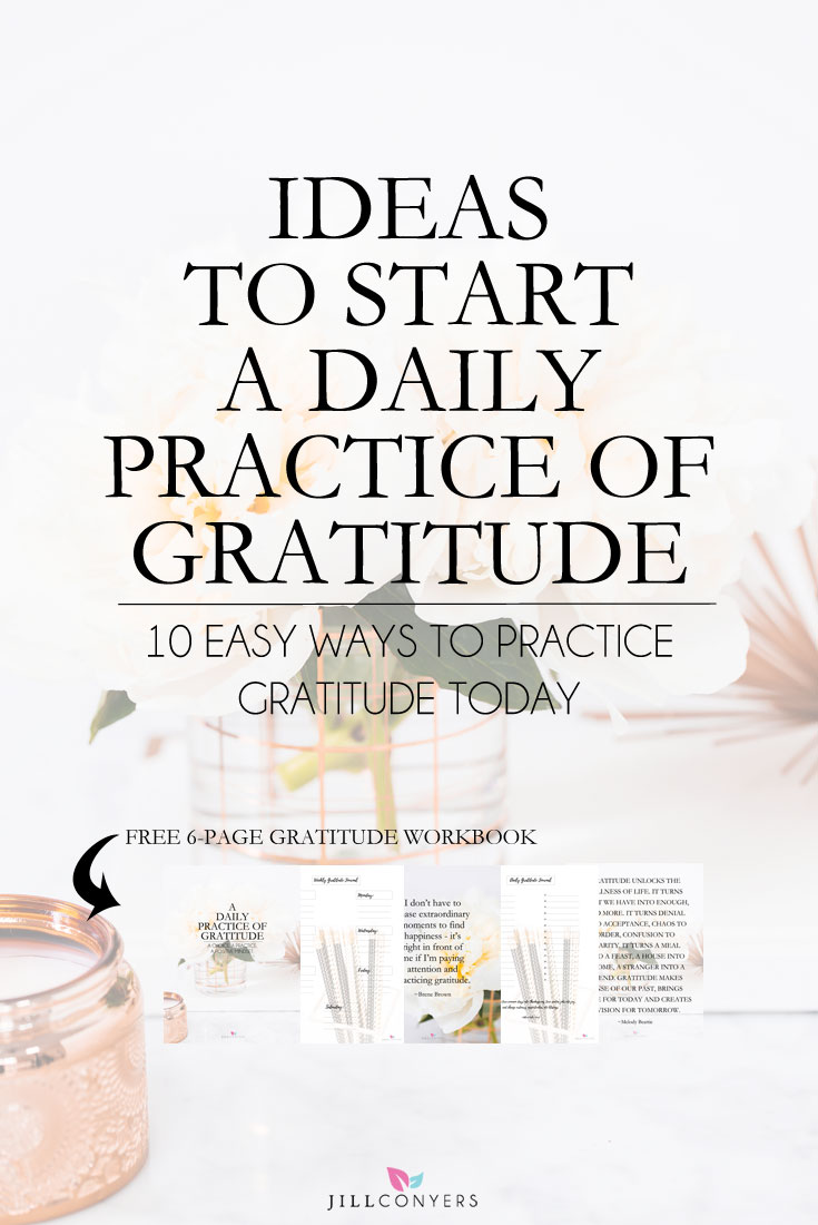 Begin each day by writing down everything you're grateful for in a journal. It's a wonderful way to start the day and create an overall feeling of contentment and happiness about life. Scientific studies have shown the power of positive thinking can affect our overall health. Feel and express gratitude as a regular practice and you will see your life is extraordinary. Click through to download the FREE 6-page gratitude workbook. Pin it now to read later. @jillconyers