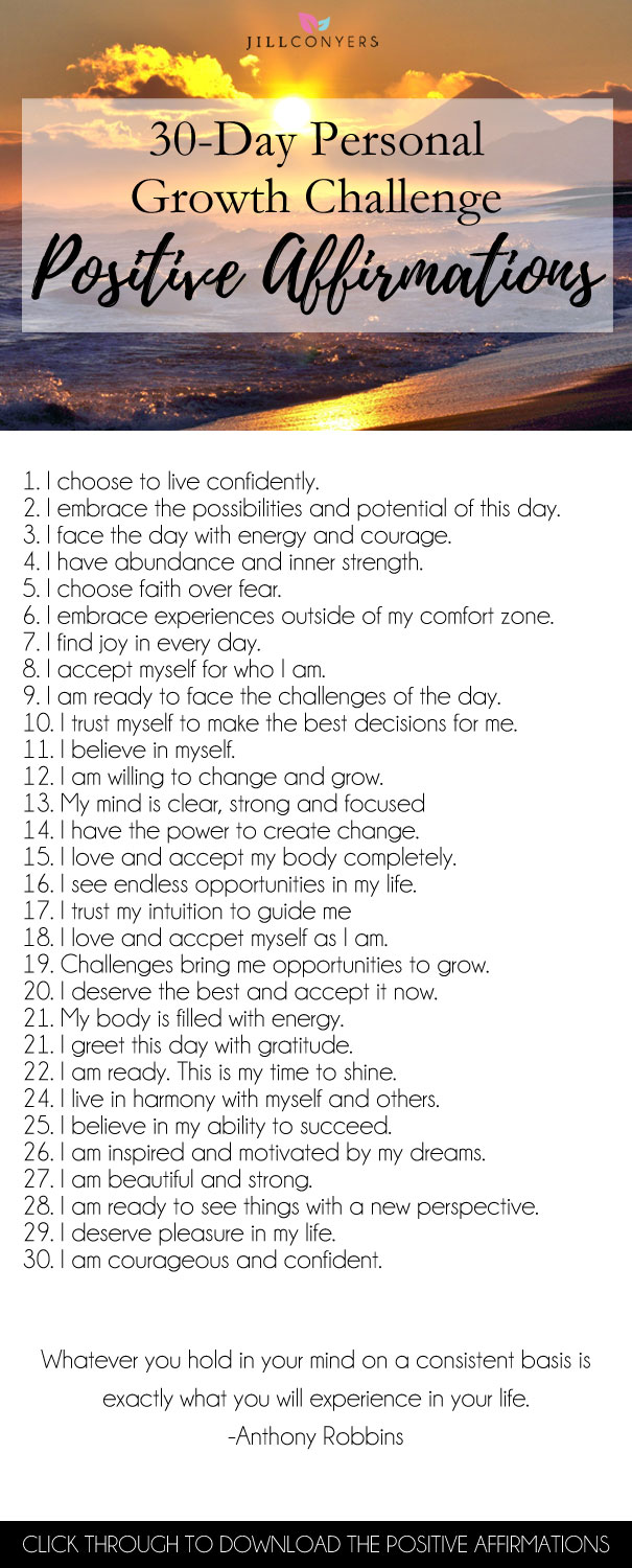 Challenge yourself to shift the perspective of your view of the world and the things that happen. Join me for a 30-day personal growth challenge! Committing to something for 30 days feels doable and is a lot easier than thinking about making a change that is intended to be forever. Click through to download the daily affirmations. Pin it now, read it later. wellness | personal growth | mindfulness | self love | self care | best life