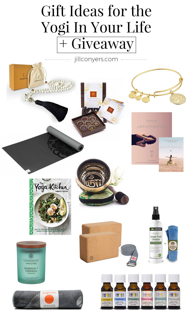 Find the perfect gift for yoga lovers this holiday season. Take a look at the gift ideas- from books to blocks and ayurveda chocolate, any yoga lover would be excited to find any of these gifts under the Christmas tree with their name on the tag + a yoga GIVEAWAY. Click through to enter for a chance to win a yoga gift pack and a gift to give a yogi friend. Pin it now, read later. #yogagiftguide #yogigiftguide #Christmas #holiday #yoga