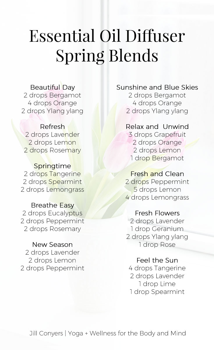 Celebrate all the things we love about spring with essential oil spring diffuser blends. Use the aromatic qualities of essential oils to capture the aromas and feelings of spring in your home. Click through to download the free diffuser blend recipes. Pin it now, share it with a friend. #essentialoils #spring #wellness #healthyliving #naturalliving #selfcare