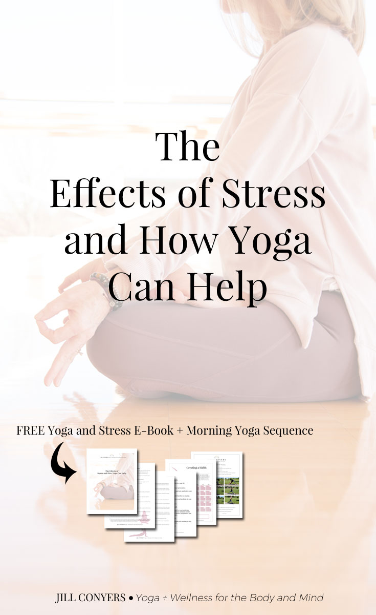 The practice of yoga helps destress your whole self, dissolving tension as you move easily through the flow. Yoga poses will get your body moving, allowing the tension to fade away. Click through to download the free yoga and stress ebook + morning yoga sequence for all levels. #yoga #wellness #stress #yogaquote #freeyogasequence