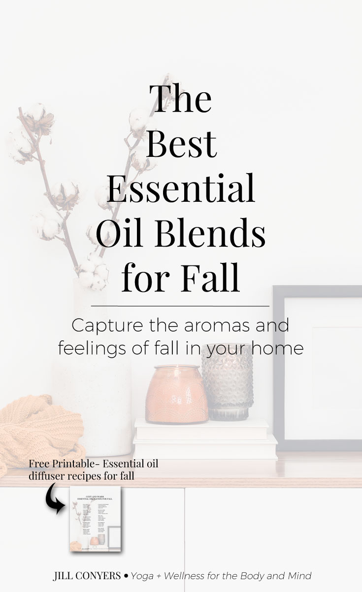 Celebrate all the things we love about fall with essential oil diffuser blends to support physical and emotional health and wellness. Click through to download the fall essential oil recipes. #essentialoils #wellness #fall #fallessentialoils #selfcare