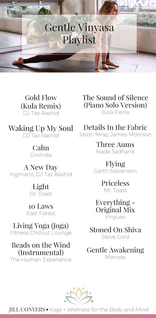 Looking for new yoga music? Try this gentle vinyasa to savasana yoga playlist curated by Jill Conyers Yoga + Wellness for the Body and Mind. Click through for a link to the playlist on Spotify. Move consciously and become more aware of your body while connecting to the flow of your breath. #yoga #yogaplaylist #yogamusic #yogajourney #yogateacher #vinyasaplaylist